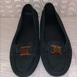 Tory Burch Navy Blue Gold Logo Loafers Sz 8.5